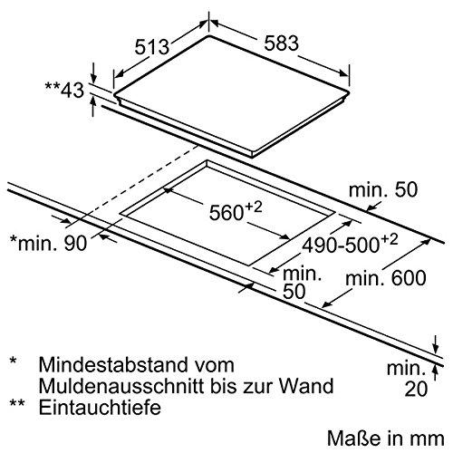 4 Heizelemente 58.3 cm//Glaskeramik Siemens EF645BNN1E iQ300 Kochfelder