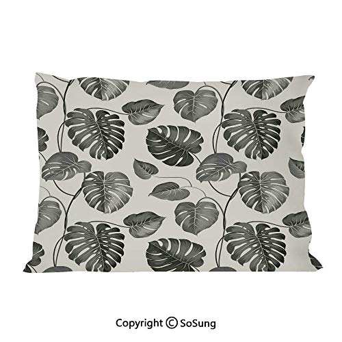 Grey Bed Pillow Case/Shams Set of 2,Illustration of Tropical Palm Leaves in Classic Style Print with Soft Colors Nature Home Decorative King Size Without Insert (2 Pack Pillowcase 36