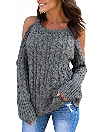 NANYUAYA Womens Cold Shoulder Sweater Fall Long Sleeve Knit Pullover Tops