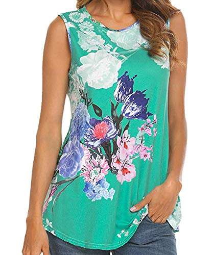 Polyester Green Blend - Floral Tank Tops for Women Scoop Neck Color Block Striped Loose Casual Flowy Sleeveless Shirts for Women Tunic Floral-Green XL