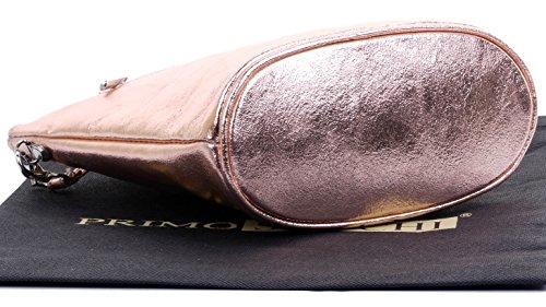 Shoulder Body Italian Rose Leather Primo Sacchi or Hand Handbag Bag Cross Gold Strap Made Adjustable vwBZ8SBxq