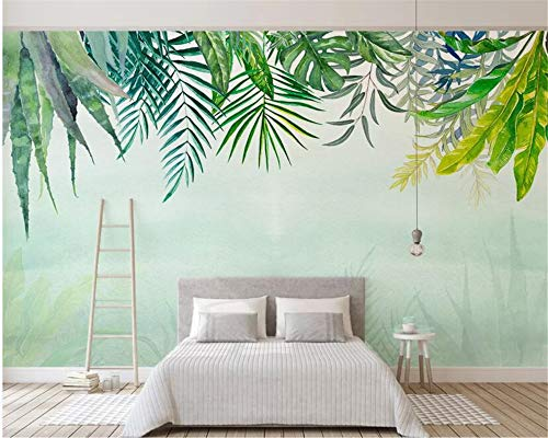 - NIdezuiai Murals,Green Leaf Watercolor Plant Series Customize 3D Wallpaper Art Print Wall Painting Hd Print Poster Picture Large Silk Mural for Living Room Bedroom Home Decor