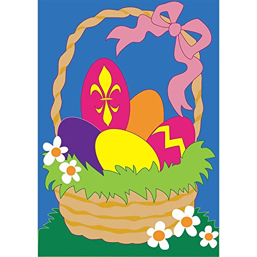 Easter Egg Hunt Basket and Handle 42 x 29 Rectangular Double Applique Large House Flag
