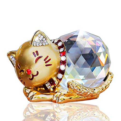 Hoobar Alloy Crystal Lucky Cat Figurine for Wedding,Birthday,Car and Home Decoration Furnishing Article (Gold) (Crystal Christmas Figurines)