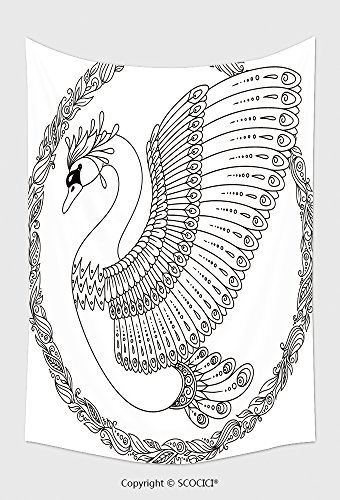 Home Decor Tapestry Wall Hanging Hand Drawing Artistic Swan For Adult Coloring Pages In Doodle Zentangle Tribal Style Ethnic 614282852 for Bedroom Living Room Dorm (Halloween Grid Coloring Pages)