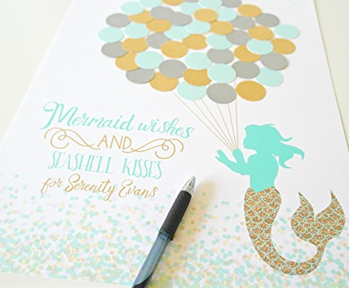 Mermaid Baby Shower Guest Book Sign In - Aqua, Silver and Gold -
