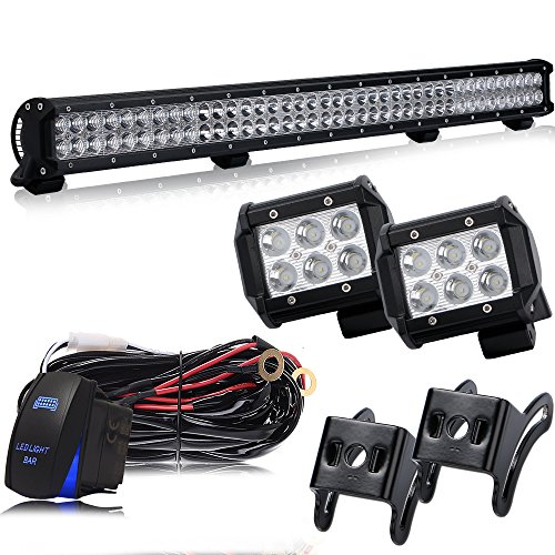 36In Led Light Bar Grill Guard Roll Bar Push Bumper Canopy Roof Rack Brush Bar Work Light With 4In Pods Cube Driving Fog Lights For Dodge Durango Truck Rtv Golf Cart Boat Toyota Tacoma 4Wheeler Chevy