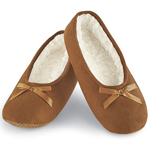 Faux Suede Cozy Ballerina Slippers, Brown, Medium