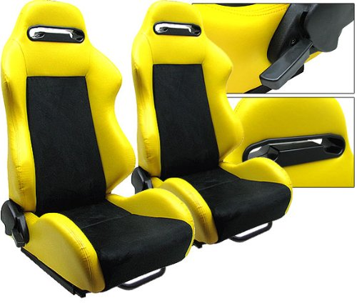 Yellow Black PVC Leather Suede Racing Seats Reclinable Slider All Chevrolet Ford