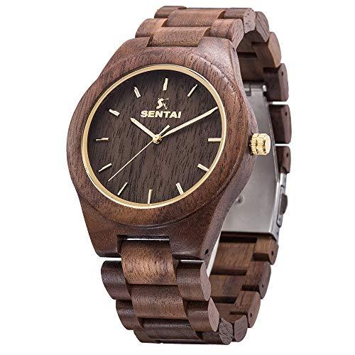 Wrist Gift Mens Watch - Men's Wooden Watch, Sentai Handmade Vintage Quartz Watches, Natural Wooden Wrist Watch