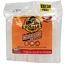 Gorilla 3034502 Hot Glue Sticks 4 In. Full Size, 45Count