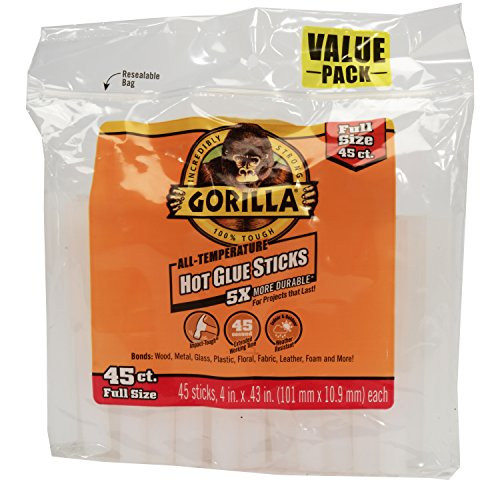 Gorilla 3034502 Hot Glue Sticks 4 In. Full Size, 45Count