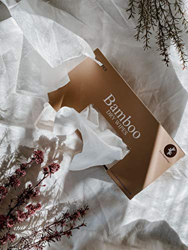Eco Beginnings For Sensitive Skin 80 Disposable Unbleached Pure Bamboo Dry Cleansing Cloths in a Plastic-Free Box