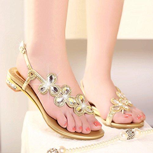 pantofole Low Khskx Sandals Cool Water Heel Skidproof Tep Drill dorate piatto Fondo Summer Comode spennellato wO8Rrw