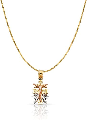 14K Two Tone Gold Charm Pendant with 0.9mm Wheat Chain Necklace