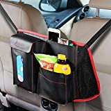 Etre Jeune Car Seat Organizer Storage, PU Leather Car Backseat Organizer Storage,Car Seat Back Organizer with Files Laptop Pockets Tissues,Red