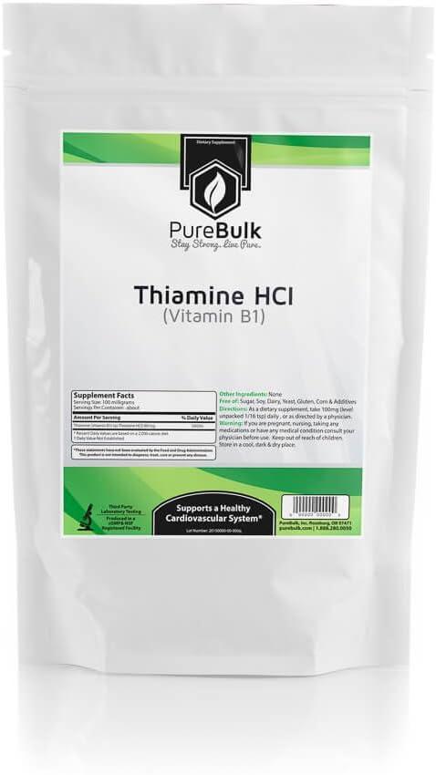 PureBulk Thiamine HCl (Vitamin B1) Container:Bag Size:100g Powder