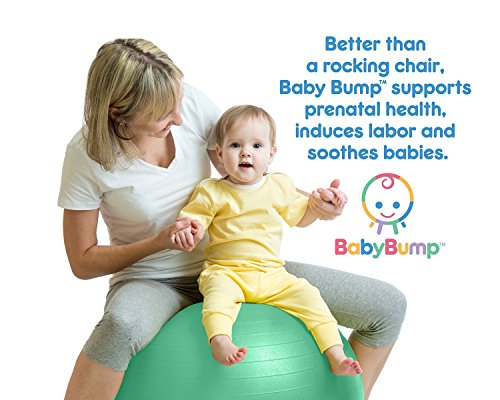 Baby Bump Birth Ball with Base Legs - Stability/Balance/Stand - Anti-burst - Pump - Exercise during Pregnancy - Prenatal Fitness - Induces Labor - Soothes Babies - Yoga Moms - Cute Practical Best Baby Shower Gift - 65 cm - Lifetime Guarantee - Lavender Pu