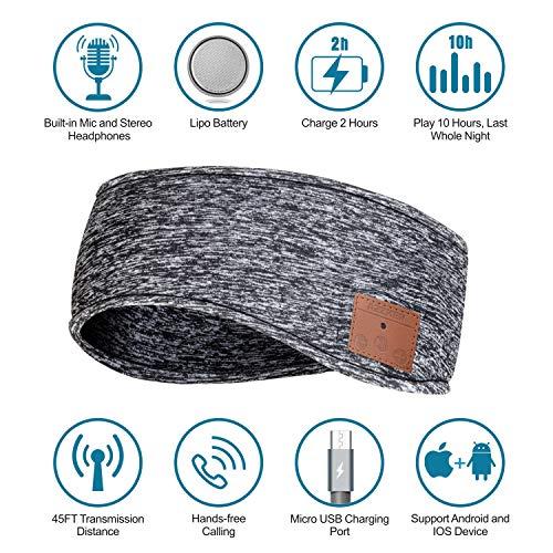 ASIILOVI Sleep Headphones Bluetooth Headband, Soft Ear Warmer Headband Wireless Music Sport Headbands with HD Speakers and Mic, Perfect for Workout, Running, Yoga, Daily Wear