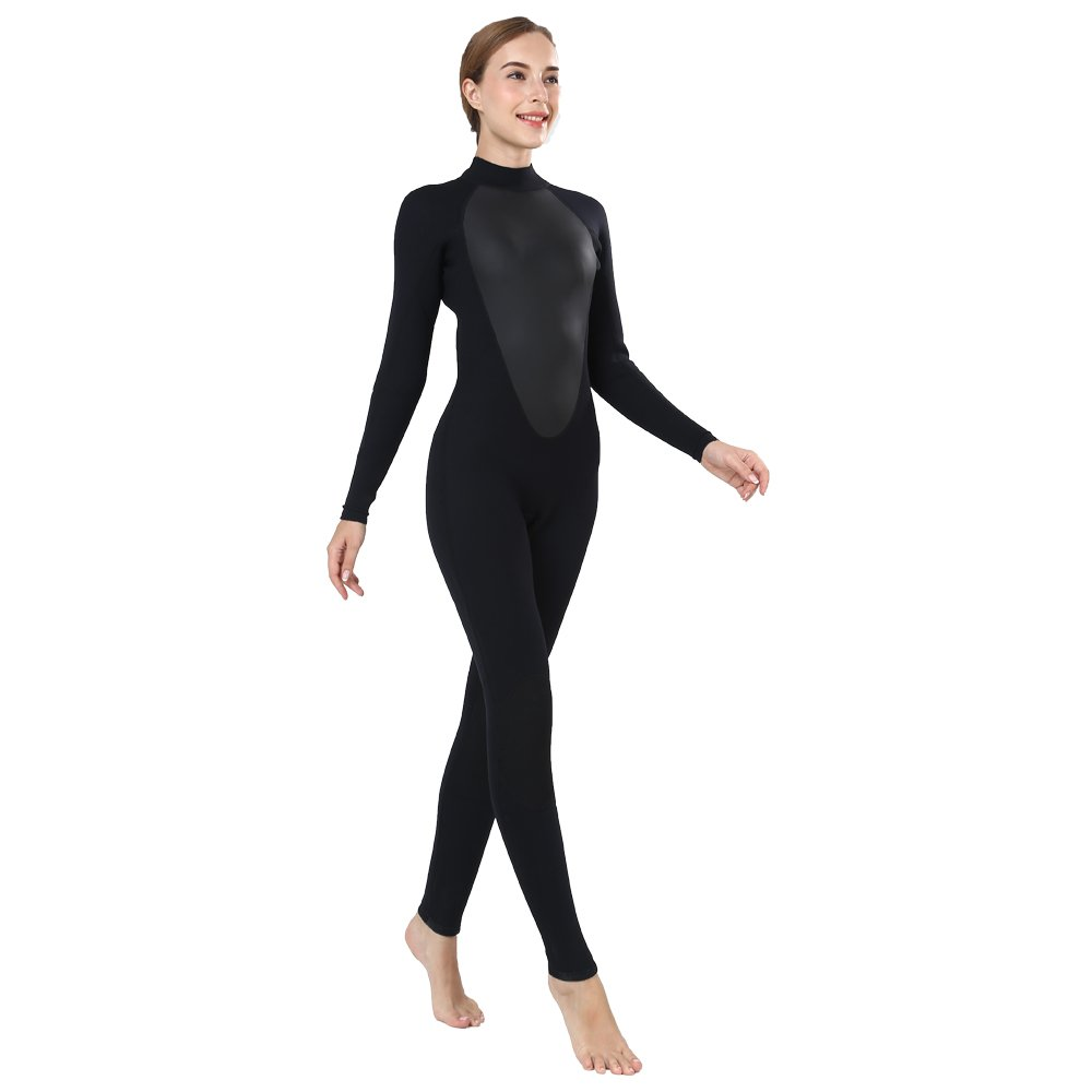 Realon Womens Wetsuit Full 3mm Neoprene Surfing Scuba Diving Snorkeling Swimming Suit (Black 3mm, M) by Realon (Image #4)