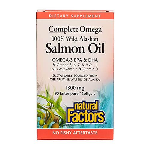 Natural Factors - Complete Omega Wild Alaskan Salmon Oil, Supports Brain Function and Heart Health while Helping to Maintain Already Healthy Cholesterol Levels with Omega-3 EPA and DHA, 90 Softgels -
