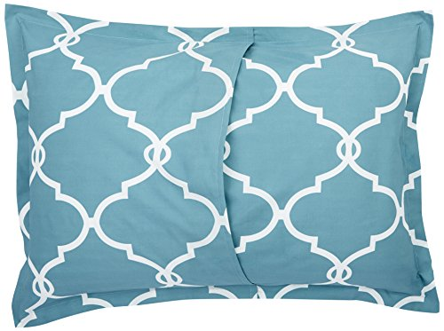 Pinzon 300-Thread-Count 100% Cotton Cool Percale Duvet Cover Set, Full/Queen, Spa Blue by Pinzon by Amazon (Image #5)