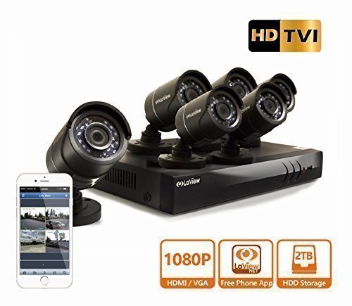 LaView HD DVR 8 Channel 1080P Surveillance System 2TB HDD 6 x 1080P Bullet Security Cameras, Free Remote View, LV-KT948FT6A0-T2