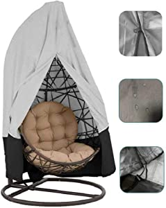 skyfiree Patio Hanging Chair Cover 91X80 Inches Large Swing Egg Chair Cover with Zipper 210D Oxford Waterproof Outdoor Pod Chair Garden Wicker Swingasan Cover (Grey&Black)