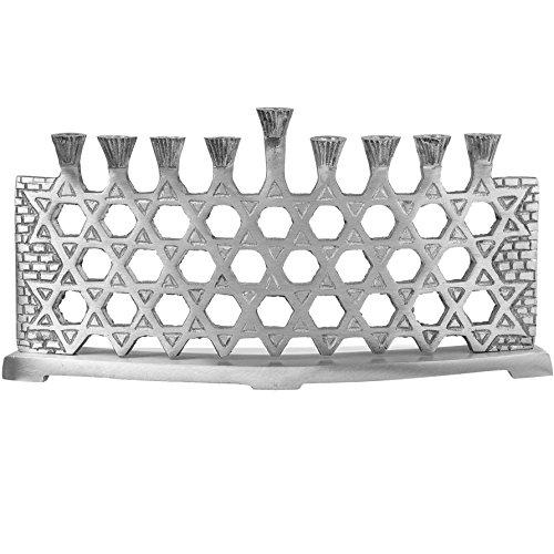 Ner Mitzvah Star of David Aluminum Menorah - Silver Plated Magen David Menorah