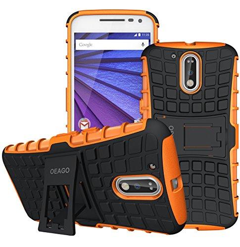 Moto G4 Case, Moto G4 Plus Case - OEAGO [Shockproof] [Impact Protection] Tough Rugged Dual Layer Protective Case Cover with Kickstand for Motorola Moto G4 / G4 Plus (Moto G Plus, 4th Gen) - Orange