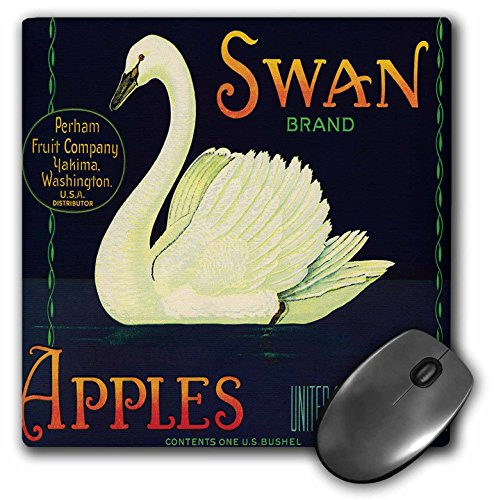 3dRose BLN Vintage Label and Advertising Art - Swan Brand Apples Washington USA with White Swan Swimming in the Water - MousePad (mp_171124_1)
