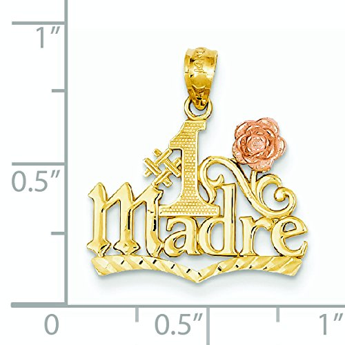 14 Carats Or Jaune et Rose-Pendentif chiffre 1 Madre-Dimensions :  21,7 x 19,6 cm JewelryWeb -