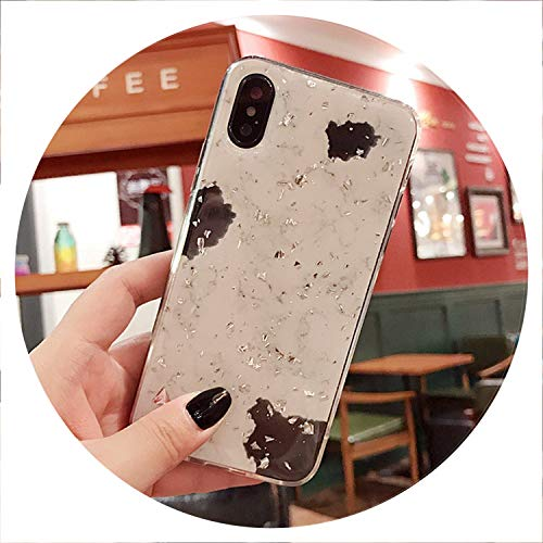 (Luxury Gold Foil Bling Marble Phone Cases for iPhone X 10 Cover Soft TPU for iPhone XR XS MAX 7 8 6 6s Plus Glitter Case Coque,Beige,for IP XS 5.8 inch)