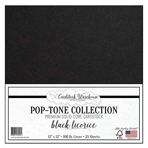 Black Licorice Cardstock Paper - 12 x 12 inch 100 lb. Heavyweight Cover - 25 Sheets from Cardstock Warehouse