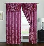 Cheap RT Designers Collection Wilton Jacquard Double Rod Pocket Single Curtain Panel, Rose