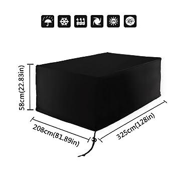 Fesselnd Xiliy Wasserdicht Abdeckung Rechteckig Schutzhülle Für Tisch Stühle  Gartenmöbel Set 325 X 208 X 58cm