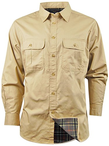 Smiths Men's Long Sleeve Button Down Flannel Lined Shirt Jacket (X-Large, Khaki) (Double Pockets Long Sleeve)