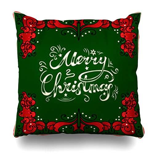 LifeCO Throw Pillow Cover Pillowcase Year Green Border