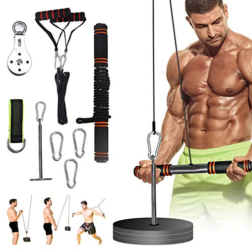 PELLOR Pulley Cable Machine Professional Muscle Strength Fitness Equipment Forearm, Fitness LAT and Lift Pulley System…