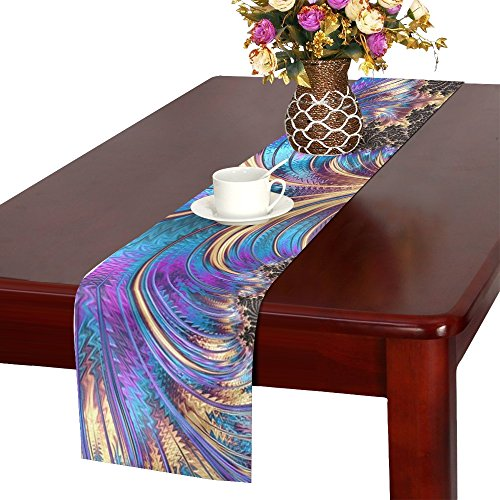 WJJSXKA Fractal Feather Swirl Purple Blue Gold Black Polyester Table Runner 16x72 Inches,watercolor Painting Rectangle Table Cloth Placemat For Office Kitchen Dining Wedding Party Home Decor