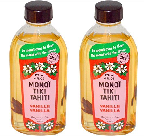 Monoi Tiki Tahiti Vanilla Coconut Oil (Pack of 2), Scented With Fresh Handpicked Tiare Flowers, 100% Made in Tahiti, 4 fl. oz. ()