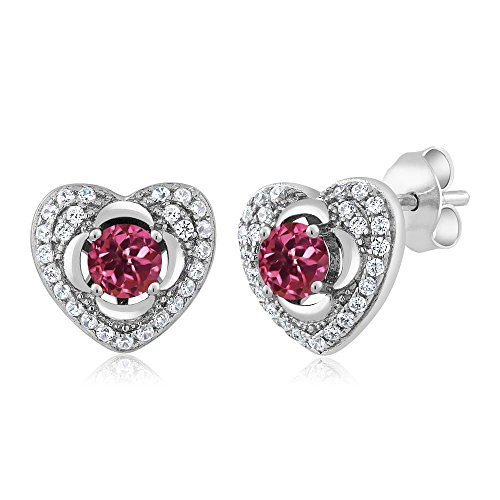 1.10 Ct Round Pink Tourmaline 925 Sterling Silver Heart Earrings