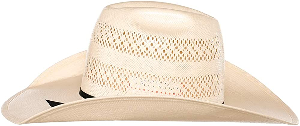 American Hat Company Mens Two Row Fancy Vent Ivory 4 1//4 Brim Black Band Straw Hat