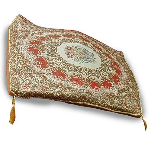 Thai asana Buddhist, meditation cushion, Gold / Red size 24X24 inches by Thai OTOP