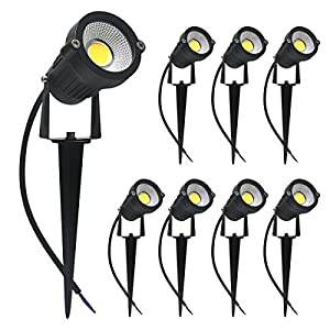 Signstek 5W LED Landscape Lights Set 12V Waterproof Garden Lights with Warm White Light for Walls Trees Flags Outdoor Spotlights with Stake (8 Pack)