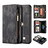 iPhone Xs Flip Wallet Case,AKHVRS Handmade Premium Cowhide Leather Wallet Case,Zipper Wallet Case [Magnetic Closure] Detachable Magnetic Case & Card Slots for iPhone X/Xs 5.8'' - Black
