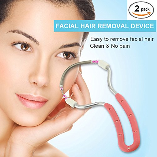 Facial Hair Removal Threading Tool Face Epilator tool for Women Upper Lip, Chin, Cheeks and Sideburns (Red,Blue) 2 Pack