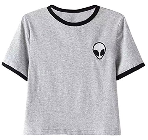 Lannorn Women's 7 Colors Funny Alien Print Exposed Navel T Shirts Round Neck Short Sleeve Blouse Summer Cropped Top Shirt
