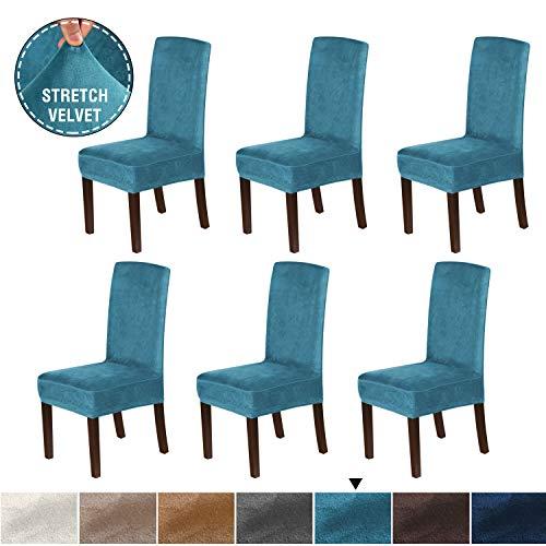 H.VERSAILTEX Rich Velvet Dining Chair Covers (Set of 6) Dining Chair Slipcover Super Stretch Stylish Furniture Cover/Protector, Modern Velvet Plush Slipcover High Chair Cover, Peacock Blue (Dining Chair Slipcovers Blue)