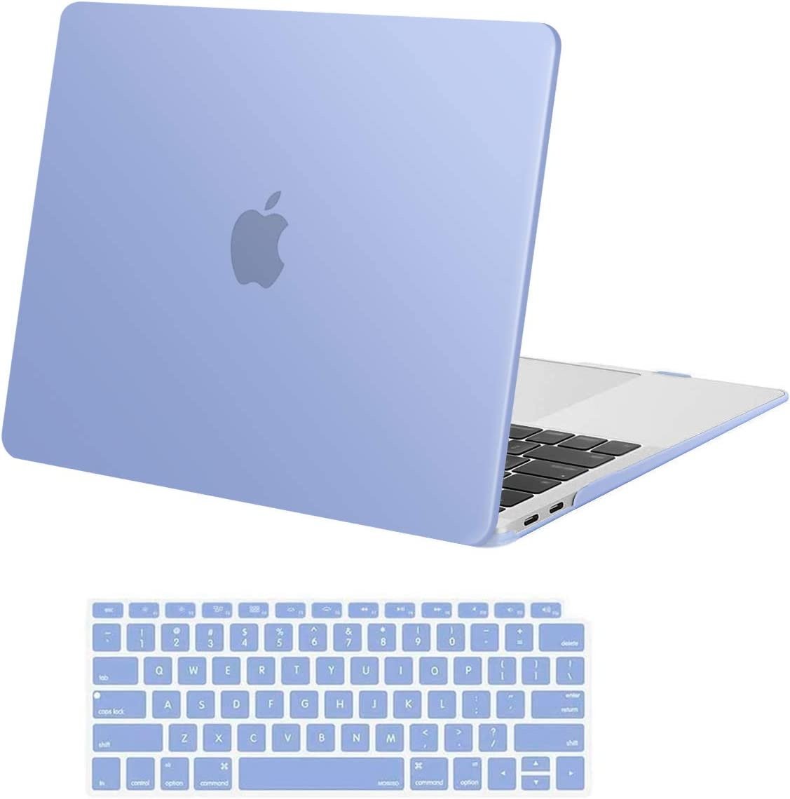 MOSISO MacBook Air 13 inch Case 2020 2019 2018 Release A2179 A1932, Plastic Hard Shell Case & Keyboard Cover Skin Only Compatible with MacBook Air 13 inch with Retina Display, Serenity Blue